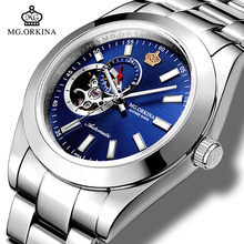 Mens Business Automatic Mechanical Waterproof Watches MG.ORKINA Silver Stainless Steel 316L 40MM Luminous Hands Watch Clock
