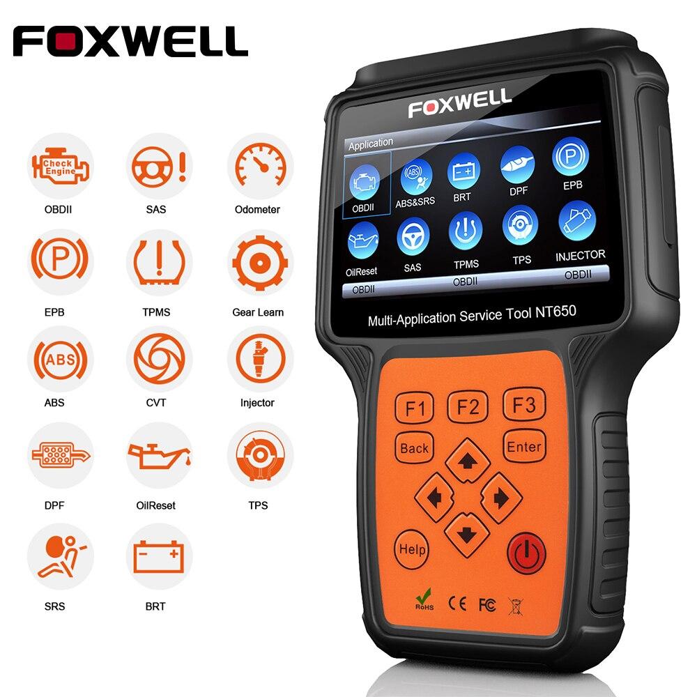 FOXWELL NT650 OBDII OBD2 Scanner Outil De Diagnostic pour Auto Voiture Effacer le Code D'erreur Soutien EPB SAS BMS DPF CVT ABS SRS À Huile Réinitialiser