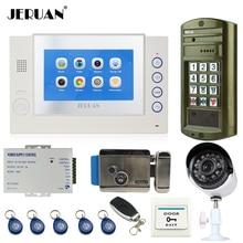 JERUAN 7 INCH TOUCH Screen Video Door Phone Record Intercom System kit+Waterproof Access Password HD Mini Camera+Analog Camera
