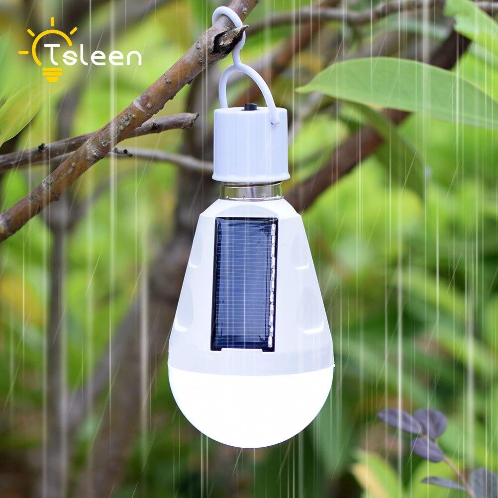 Portable Intelligent 7W 12W LED Solar Lamp AC85-265 Bombillas LED E27 Rechargeable Solar lamp IP65 Camping Emergency lighting