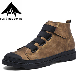 DJSUNNYMIX Brand Men Ankle Boots Retro Martin Boots Man Leather High Top Shoes Non-slip Outdoor Casual Shoes