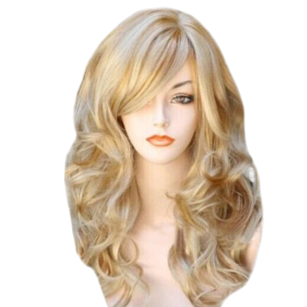 Hot Sale Natural Comfortable Blonde Wigs Wavy Curly Long Heat Resistant Fiber Costume Party Wigs For Women Gift Dropshipping