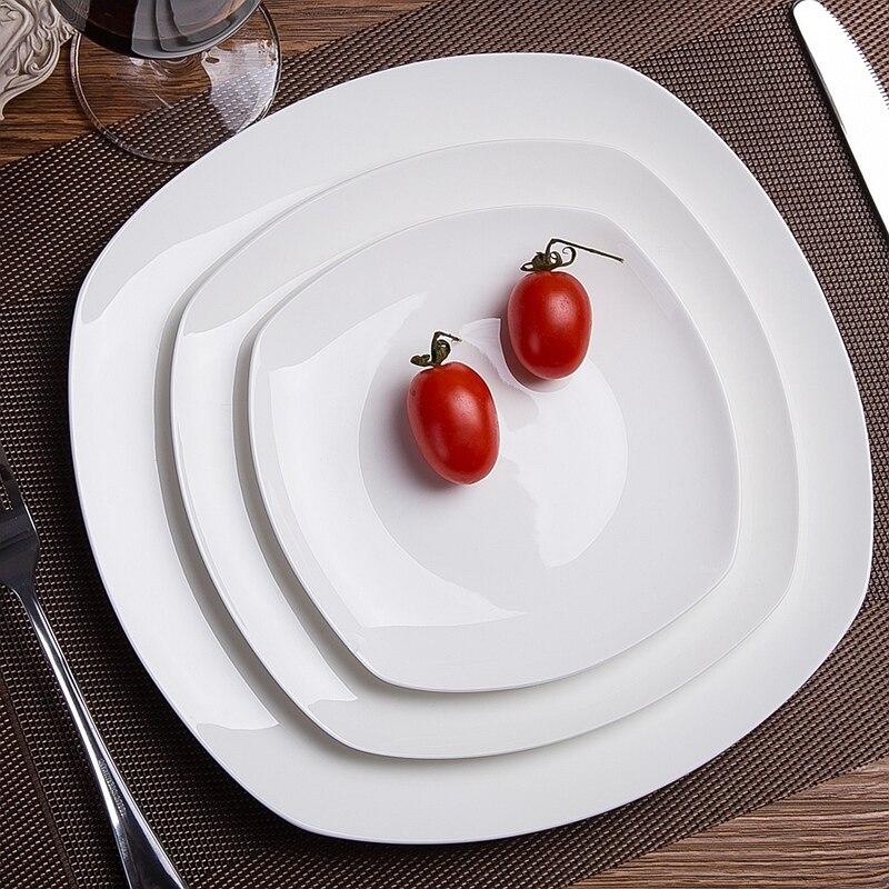 Fashion Family Japanese Plain White Bone China Flat Steak Plate Western Dinner Plate Ceramic 10 Inch Plate Square Dish Tableware