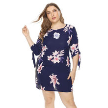 vetement femme 2019 Women's vestido summer dress Plus Size Casual O-neck Half Sleeve Shrink Band Print Mini Dress clothes elbise(China)