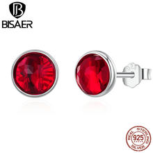 12 Month 100% 925 Sterling Silver July Birthstone Simple Round Glass Stone Red Stud Earrings For Women Girl Earrings Jewelry(China)