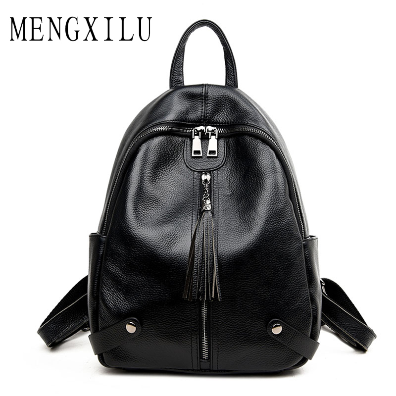 MENGXILU Brand Women Backpack Genuine Leather School Backpacks For Teenage Girls Tassel Shoulder Bag large Capacity Travel Bags brand bag backpack female genuine leather travel bag women shoulder daypacks hgih quality casual school bags for girl backpacks