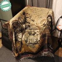 Poliester manta de visón tapiz Hilos imagen decorativa Tapices Telas pared Alfombras colgante sofá Tapetes cubierta Thomas kinkade