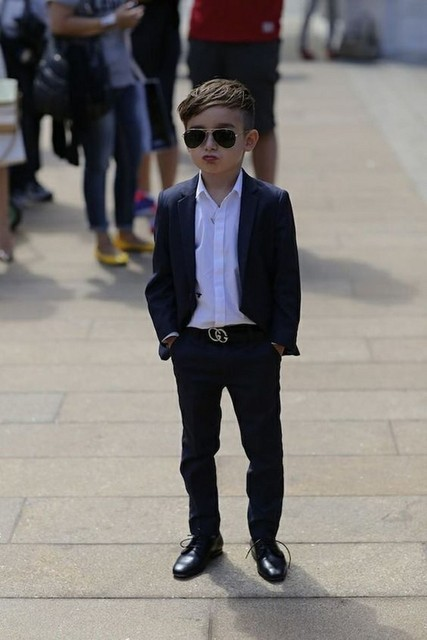 52565f5a5a 2016 High Quality Navy Blue Kids Tuxedo Suits ( Pants +Jacket) Handsome Boys  Wedding
