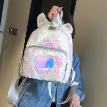 Fashion Unicorn Sequin Women Backpack Cartoon for Girls Kids School Bag Cute Hologram Laser PU Leather Travel Mochila