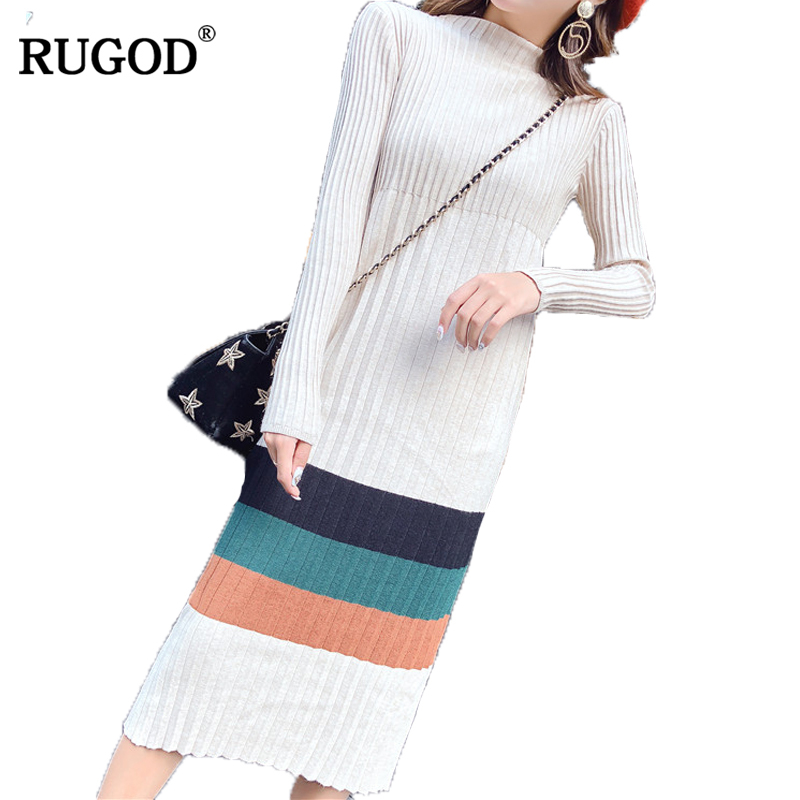 RUGOD Fashion Patchwork Turtleneck Christmas Dress Casual Mid Calf Winter Long Dress Long Sleeve Knitted Dresses