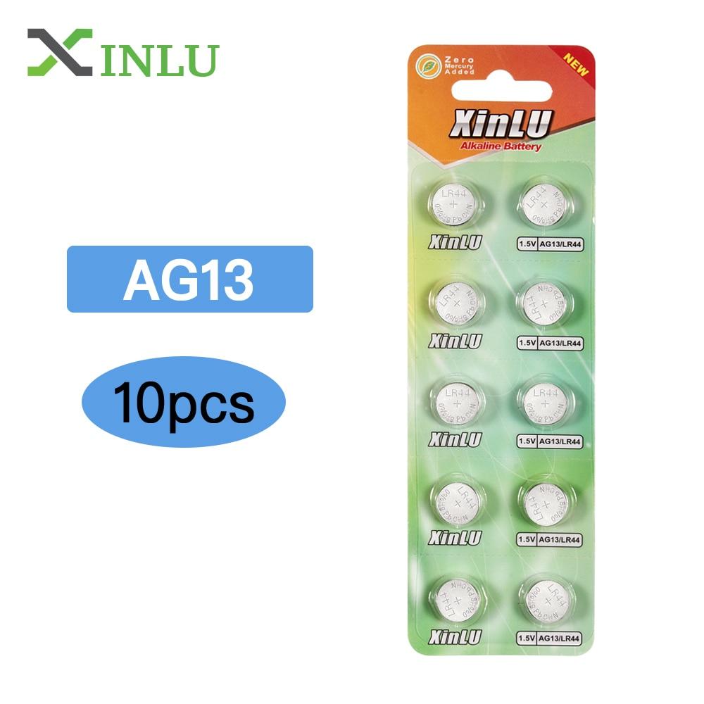 10pcs/lot 1.5V AG13 Battery LR44 L1154 RW82 RW42 SR1154 SP76 A76 357A Pila Lr44 SR44 Alkaline Button Cell Coin Battery,XINLU