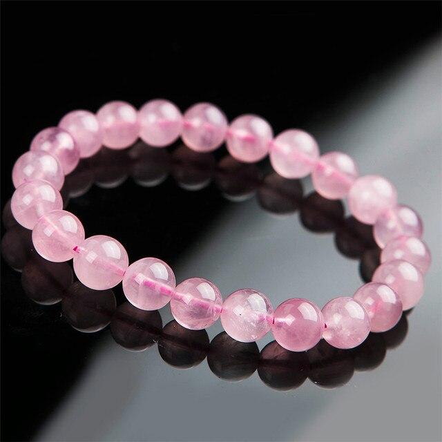 9mm Genuine Natural Quartzo Rosa Rosa de Cristal Redonda Bead Pulseiras Para Mulheres Femme Amor Charm Bracelet Frete Grátis