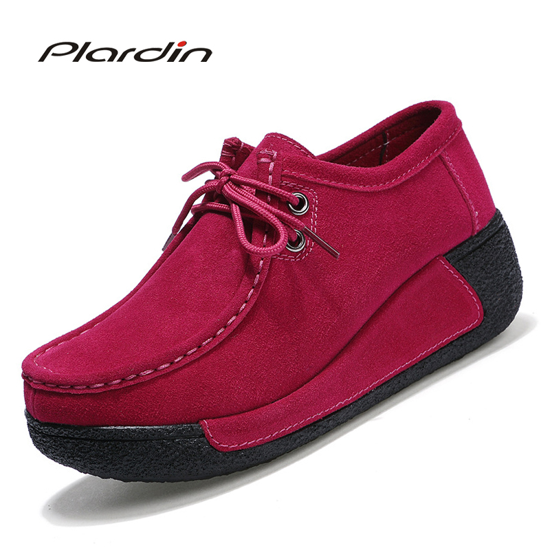 Plardin New Four Seasons Women Flats Platform Shoes Suede Leather Lace Up Women Moccasins Creepers Female Casual Shoes Ladies