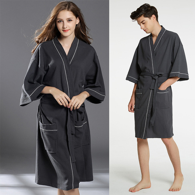 71e4a39a9d plus size Spring waffle cotton bathrobes women robe men three-quarter length  sleeves sleepwear solid color soft breathable