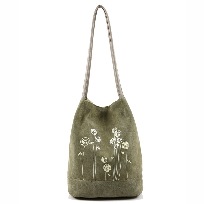 Women Handbags With Long Handle Bucket Bag Canvas Ladies Hand Bags