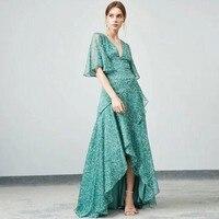 Seifrmann дизайнер 100% Шелковый Асимметричный длинное платье женские пикантные v образным вырезом оборками с цветочным принтом вечерние платья