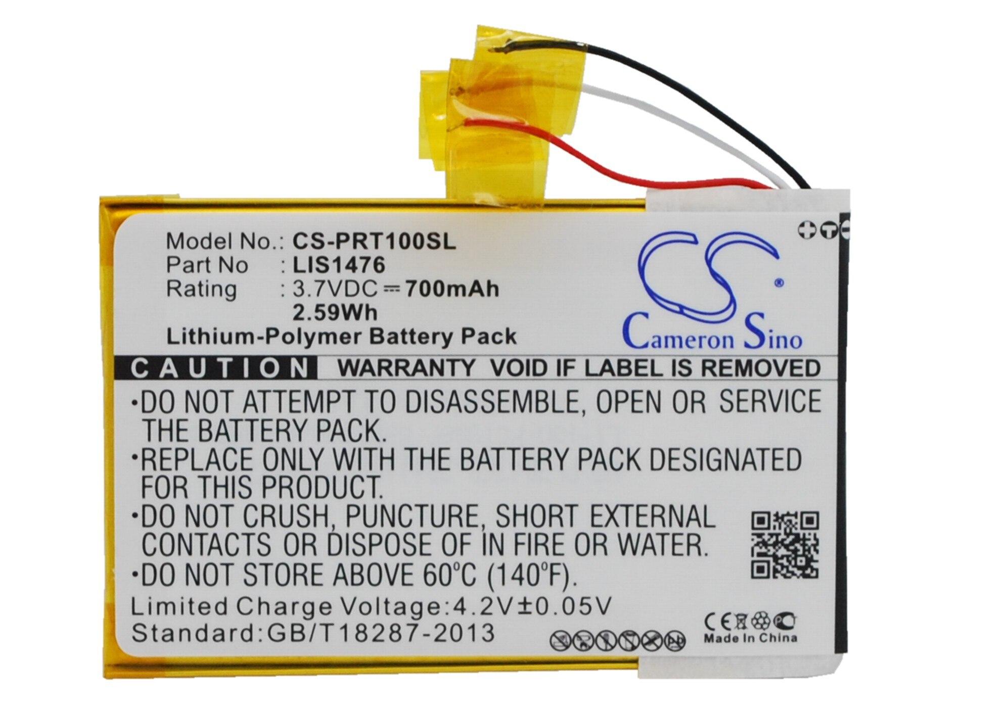 Cameron Sino 700 mAh batterie 1-853-104-11, LIS1476, LIS1476MHPPC (SY6) pour Sony PRS-T1, PRS-T2, PRS-T3, PRS-T3E, PRS-T3S