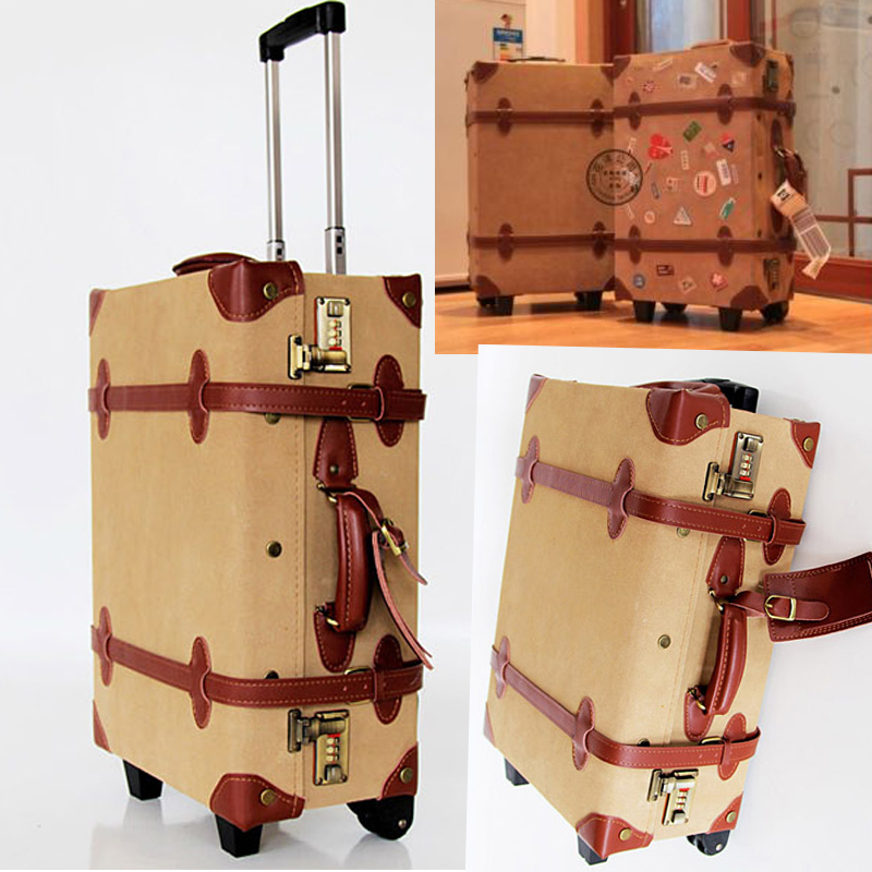 Vintage travel bag universal wheels trolley luggage cowhide box 20 24 28 bags - Online Store 903572 store