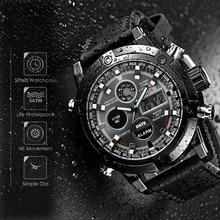 XINEW Fashion Brand Luxury Dual Movt Men's Leather Quarz Analog Digital LED Sport Wrist Watch Waterproof Wristwatches Clock A7