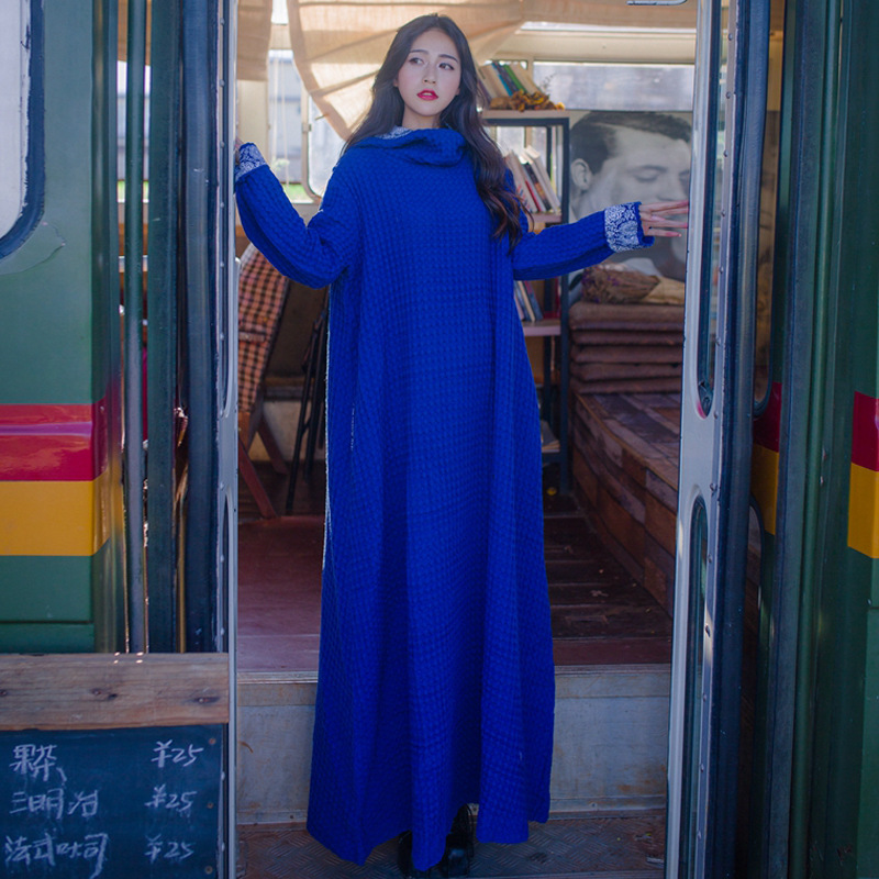Johnature Women Hooded Robes 2019 Autumn New Long Sleeve Dress Loose Vintage Waffle Blue Plus Size