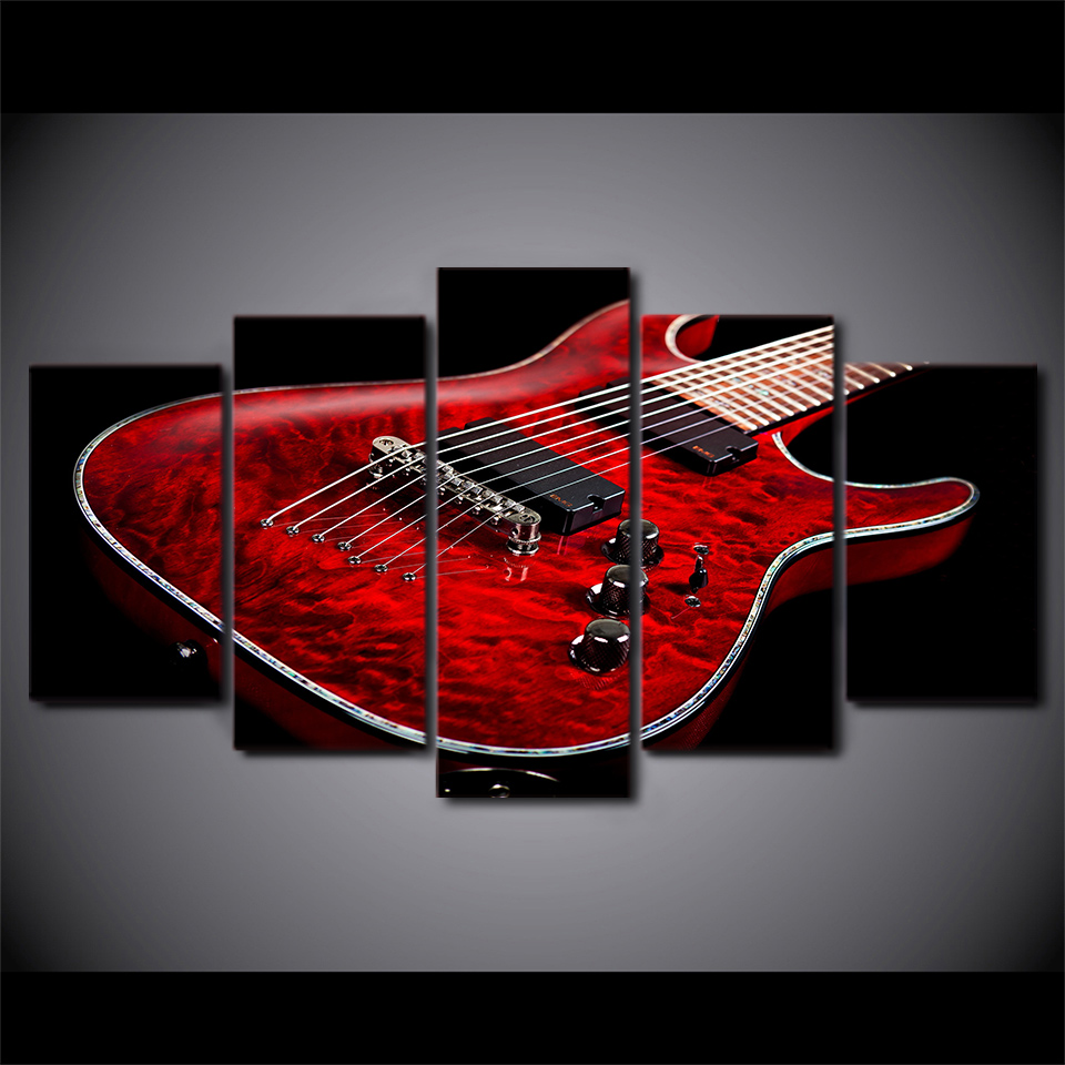 canvas hd print pictures wall art framework 5 pieces music red electric guitar paintings modular. Black Bedroom Furniture Sets. Home Design Ideas