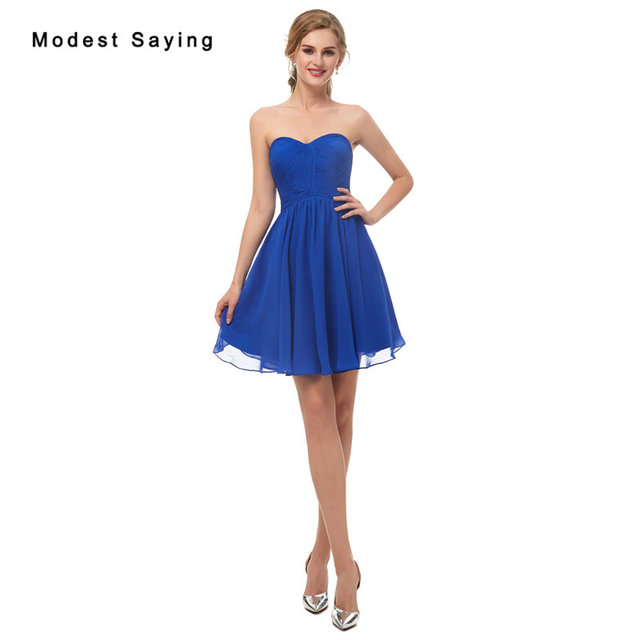 Wholesale Sexy Royal Blue Sweetheart Chiffon Bridesmaid Dresses 2019 Formal  Girls Short Pleated Maid of Honor Party Prom Gowns 9331a48e32d3