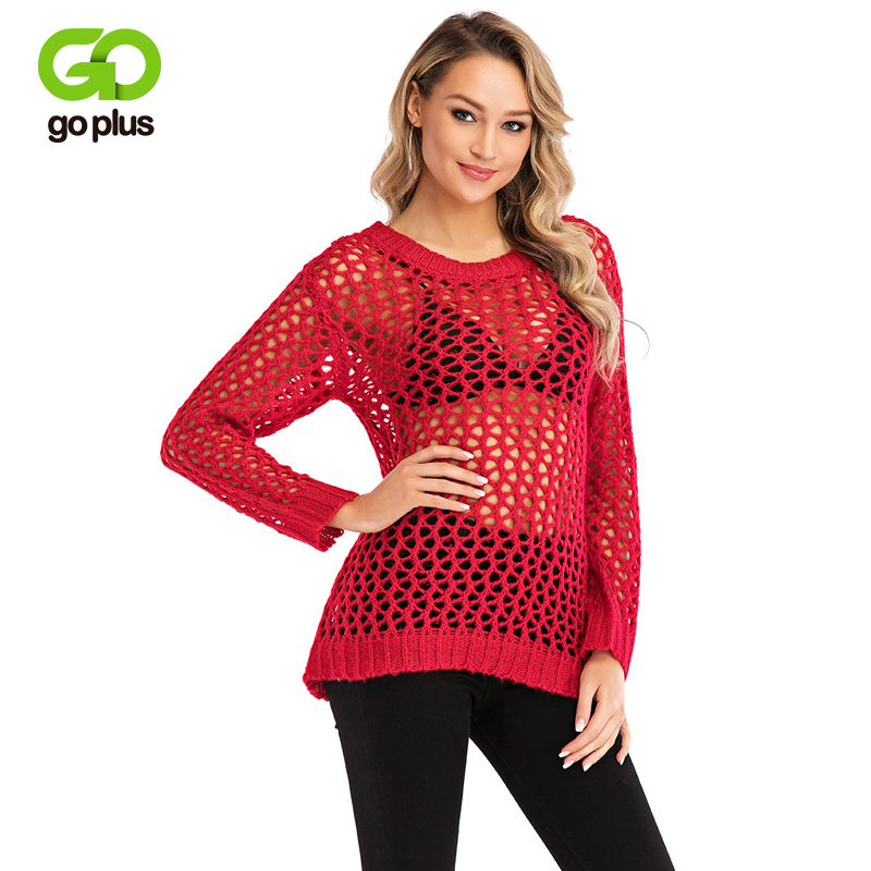 Goplus 2019 Fashion Hollow Out Knitted Net Sweater Women Solid Long Sleeve Pullovers Ladies Befree Summer Street Sweater Female