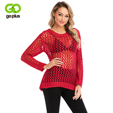 GOPLUS 2019 Fashion Hollow out Knitted Net Sweater Women Solid Long Sleeve Pullovers Ladies Befree Summer Street Female