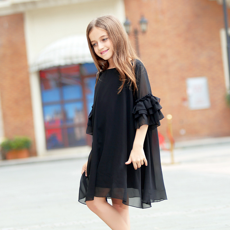 Girls Dress Summer Flare Sleeve Chiffon Black Dress For Students Junior Girl 8 9 10 11 12 14 Years Casual Teenage Girls Clothes
