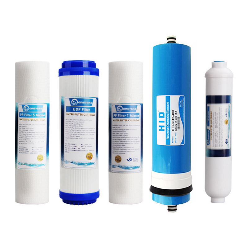 5 Niveaus Omgekeerde Osmose Zuiver Water RO Purifier Filter Element Sets RO + T33 + UDF/GAC + 1/5 micron PPF (HID400 GPD RO) Water Filter