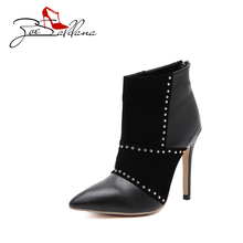 Zoe Saldana 2017 Pointed Toe PU Leather Sexy Fashion font b Ankle b font Thin High