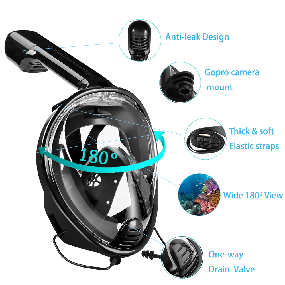 2017 Scuba GoPro Camera Diving Mask Underwater Swimming Snorkel Mask Anti Fog Full Face Snorkeling with Anti-skid Ring Earplugs