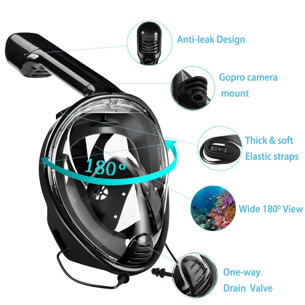 81ec1b994 YaHey 2019 Full Face Máscara Anti fog de Natação Snorkel Subaquática ...