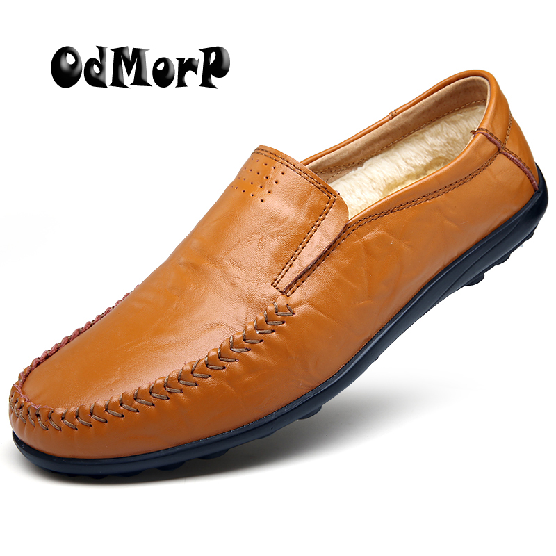 ODMORP Men Loafers Warm Fur Inside Winter Shoes For Men Casual Loafer Slip On Leather Shoes Autumn Moccasins