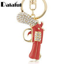 Dalaful Enamel Revolver Magnum Gun Key Chains Holder Crystal Purse Bag Buckle Pendant For Women Gift Keyrings KeyChains K274(China)