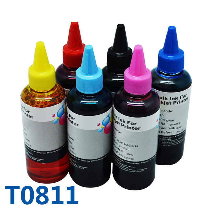 600ml T0811 Printer Ink For Epson Refill Ink For Printer For Epson Stylus Photo R390/RX590/R270/RX690/RX610/RX615/R290/R295/1410 led uv curable ink for epson 1390 printer head printing on hard materials for 3d effects 1000ml pcs 6c