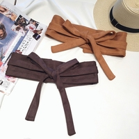 2017 new Japanese style faux leather suede bow tie belt solid color vintage fashion women girls belts brown black