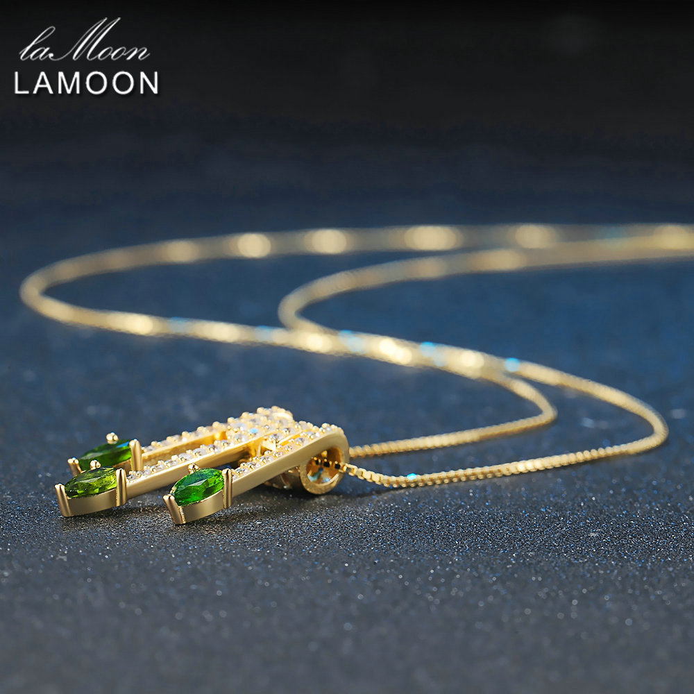 Lamoon 2017 New Pear-Shaped Real Natural Diopside Gemstone Chain Arrows Pendant Necklace 925-Sterling-Silver Jewellry LMNI061