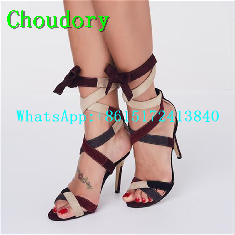 Choudory Party Patchwork Cross-tied Thin Heels Women Super High Heels Sandals Mixed Colors Butterfly-knot Gladiator Shoes Women