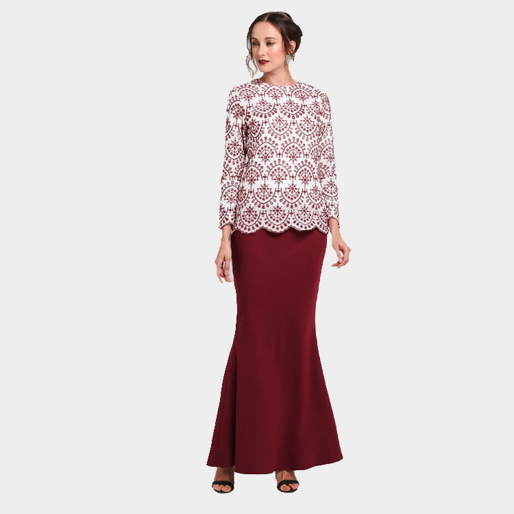 Advanced Customization Wholesale Middle East Elegant Lace Women Fashion  Party Long Dress Muslim Embroidered Maxi Baju Kurung-in Dresses from Women s  ... 2766876d8f7d