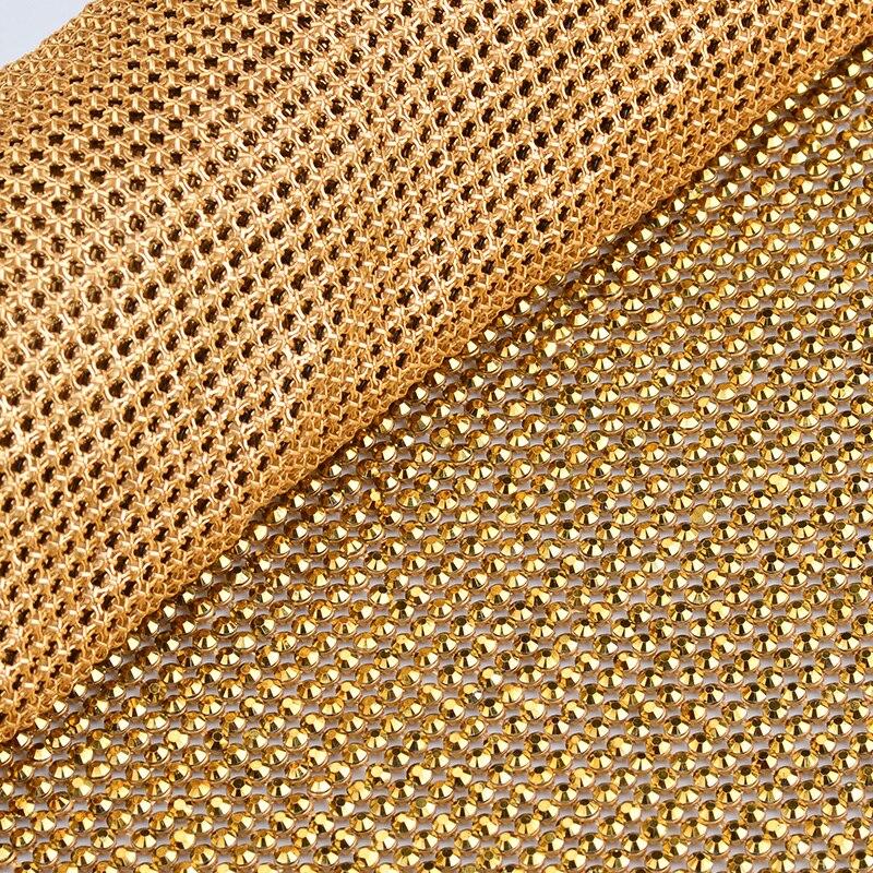JUNAO 45x120cm kolor srebrny kryształ tkaniny żywicy dżetów Mesh wykończenia metalowy aluminiowa podstawa Strass rolki na ubrania sukienka rzemiosło w Kryształy górskie od Dom i ogród na  Grupa 3