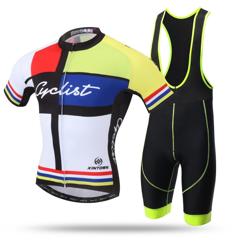 Yellow Team 2016 Cyclist Cycling Bib Set Bicycle Short Sleeve Jersey and Bib Shorts Racing Clothing Roupa Ciclismo 3d Cool Max