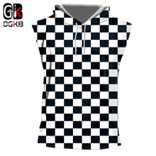 OGKB Man Hiphop Streetwear Punk Sleeveless Hoodies Tracksuits Tops Men's Cool Print Black White Grid 3D Hooed Tank Top Cap Vest(China)