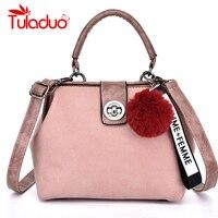 Tuladuo Retro Handbag Tote Purse Vintage Shoulder Bag Full Ball Women Cross Body Bags Doctor Bag Letter Scrub Leather Handbag