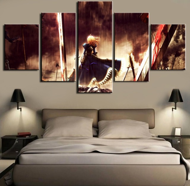 Anime Fate/stay night Saber Canvas Painting 5 Pieces HD Printed Poster Framed Wall Canvas Art Custom Made Room Decoration