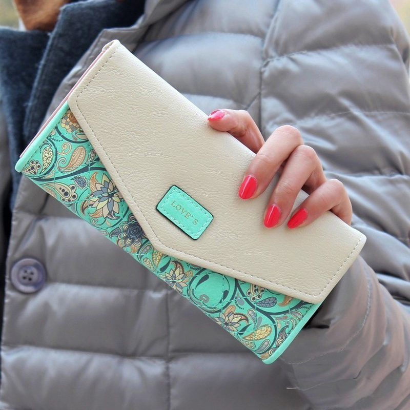 Fashion  Flower Patter Envelop Designer Women Wallets Card Holder Synthetic Leather Female Wallets High Quality Ladies Purse