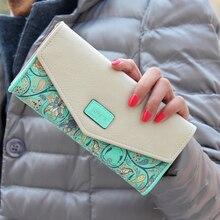 Fashion Flower Patter Envelop Designer Women Wallets Card Ho