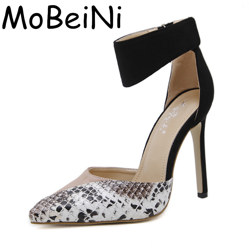 MoBeiNi New Mixed Serpentine Sexy Women High Heels Ankle Hook-Loop Pointed Toe Stiletto Pumps Ladies Banquet Party Shoes Woman new style woman shoes stiletto high heels mixed color as its character suit to party sexy peep toe fashion and unique shoes