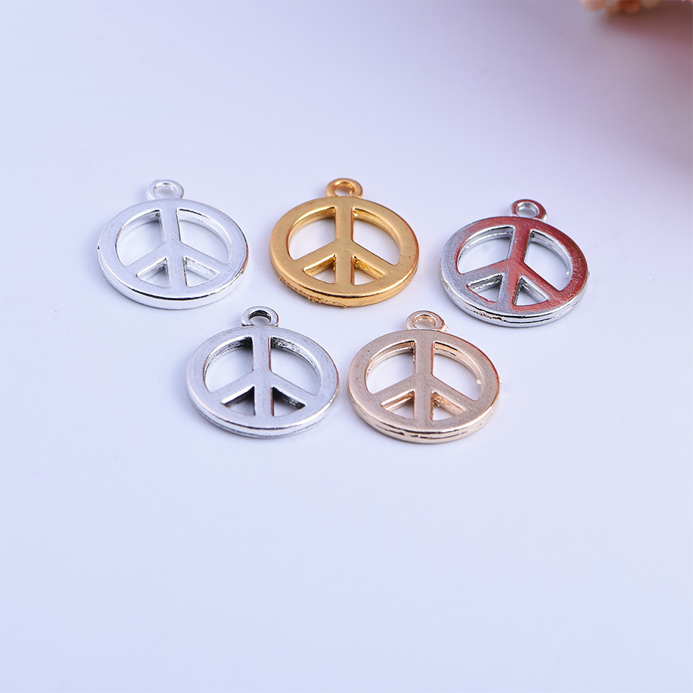 50pcs 16*19mm New Lucky Symbol Round Gold/Silver Plated Peace Sign Charms Pendant For Handmade Necklace Friendship Bracelet