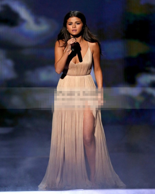 48b6a4b3 Selena Gomez Celebrity Dresses 2016 Sexy V-Neck Backless High Slit Formal  Evening Gowns Cheap Simple Elegant Prom Dress